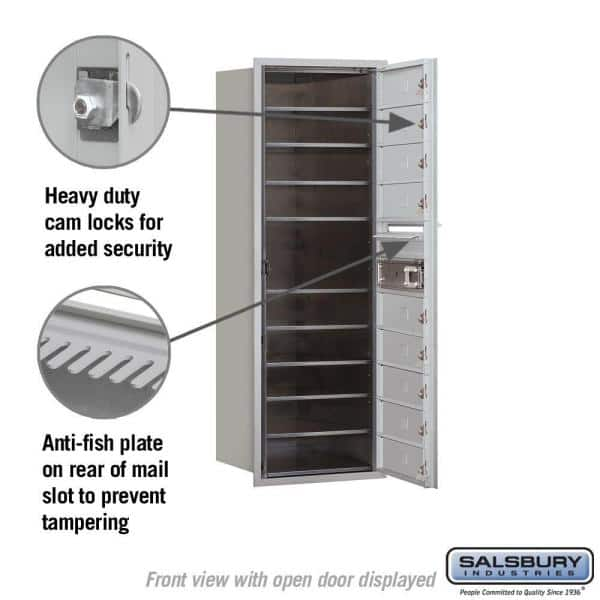 Salsbury Industries 3700 Series 41 In 11 Door High Unit Aluminum Usps Front Loading 4c Horizontal Mailbox With 9 Mb1 Doors 3711s 09afu The Home Depot