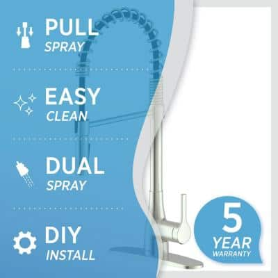 Classic Series Single-Handle Pull-Down Spring Neck Sprayer Kitchen Faucet in Brushed Nickel