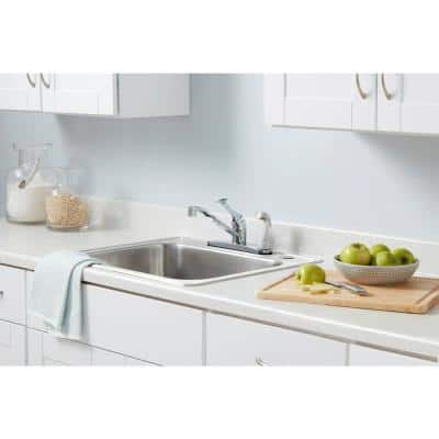 Single-Handle Standard Kitchen Faucet with White Side Sprayer in Chrome
