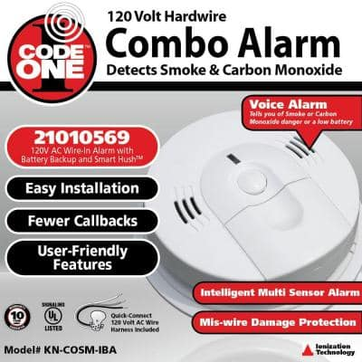 FireX KN-COSM-IBA Hardwired Smoke and Carbon Monoxide Detector with Battery Backup and Voice Alarm
