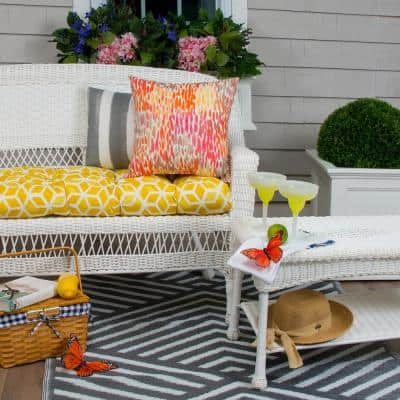 Cubed 44 in. x 19 in. x 5 in. Outdoor Rectangular Loveseat Cushion in Yellow