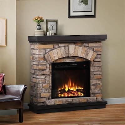 36 in. Freestanding Electric Fireplace in Tan