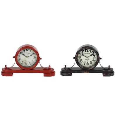 Red Metal Vintage Analog Tabletop Clock (Set of 2)
