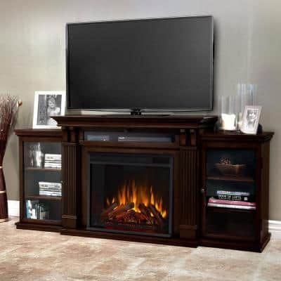 Calie Entertainment 67 in. Media Console Electric Fireplace TV Stand in Dark Walnut