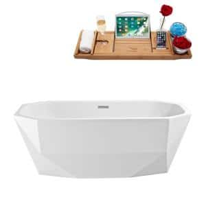 63 in. Acrylic Flatbottom Non-Whirlpool Bathtub in Glossy White