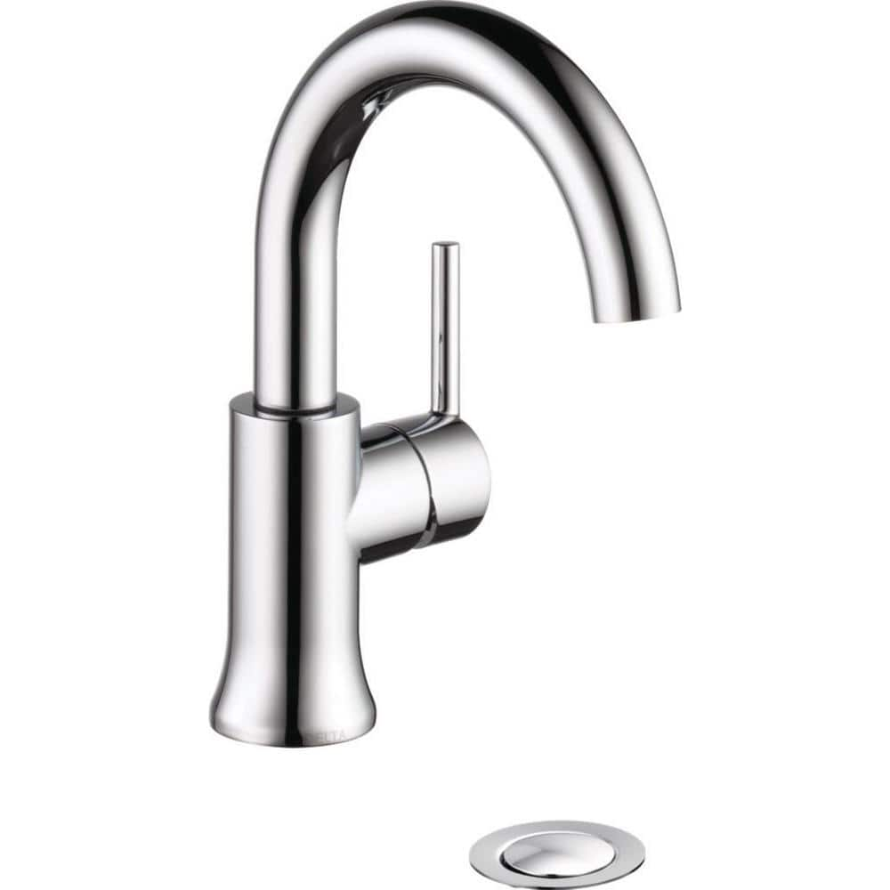 Delta Trinsic Single Hole Single Handle Bathroom Faucet With Metal Drain Assembly In Chrome 559ha Dst The Home Depot