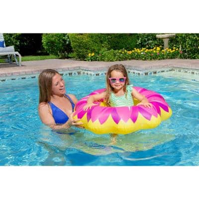 Swimming Pool Inflatable Yellow Flower Baby Rider Float
