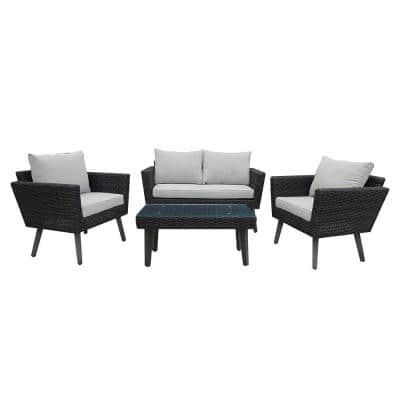 Kotka 4-Piece Wicker Outdoor Patio Sofa Seating Set with Light Grey Cushions