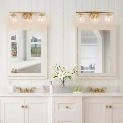 Modern Champagne Gold Bathroom Vanity Light 3-Light Indoor Wall Sconce Vanity Light with Clear Globe Glass Shades