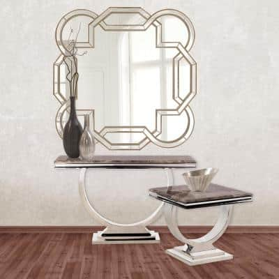 Large Irregular Champagne Silver Contemporary Mirror (48 in. H x 48 in. W)