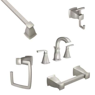 Hensley 8 in. Widespread 2-Handle Bath Faucet with 4-Piece Hardware Set in Spot Resist Brushed Nickel (24 in. Towel Bar)