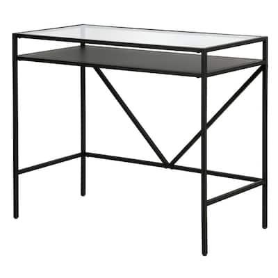 Baird 36 in. Rectangular Blackened Bronze Metal and Glass Writing Desk