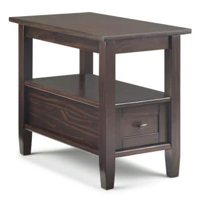 Warm Shaker Solid Wood 14 in. Wide Rustic Narrow Side Table in Tobacco Brown