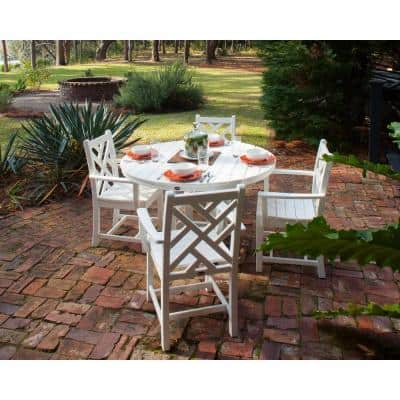 Chippendale White 5-Piece Plastic Outdoor Patio Dining Set