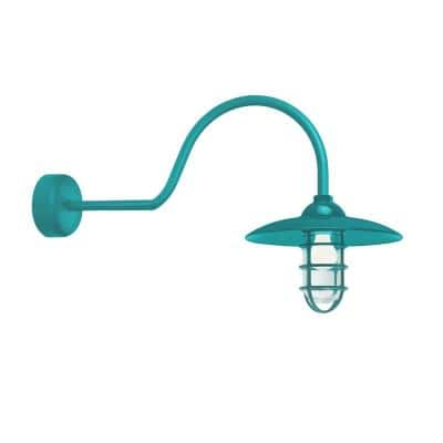 Retro Industrial 30 in. Arm 1-Light Tahitian Teal Clear Glass Lens Outdoor Wall Mount Sconce