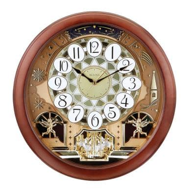 Musical 18 in. Wall Clock with 18 Different Tunes in Solid Hardwood Case