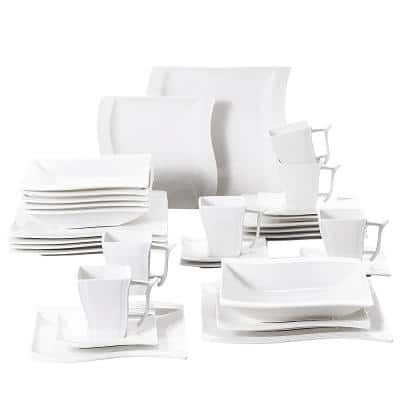 Flora 30-Piece Casual Ivory White Porcelain Dinnerware Set (Service for 6)