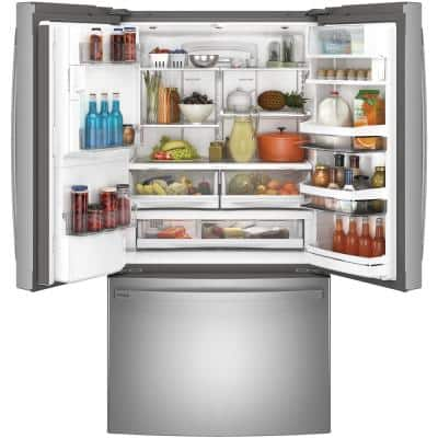 Profile 22.1 cu. ft. French Door Refrigerator with Kuerig K-Cup in Fingerprint Resistant Stainless Steel, Counter Depth