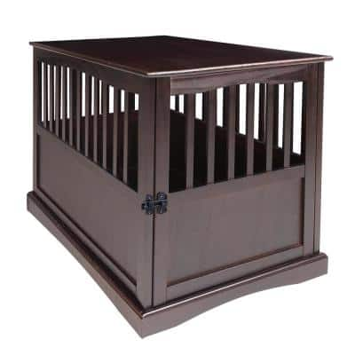 Espresso Pet Crate End Table with Gate - Large