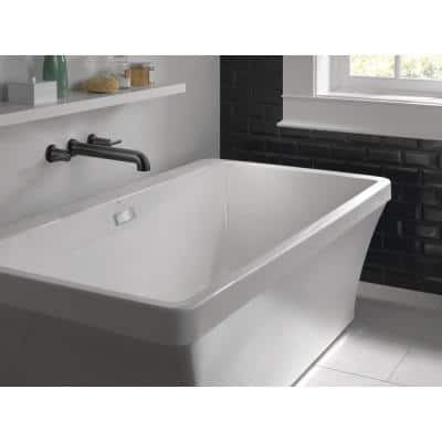 Everly 67 in. Acrylic Flatbottom Bathtub with Integrated Waste and Overflow in White