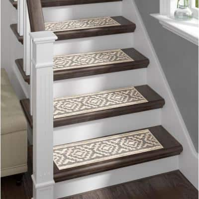 Grey 9 in. x 28 in. Stair Treads Polypropylene, Carpet Stair Tread Cover (Set of 13) White Aura