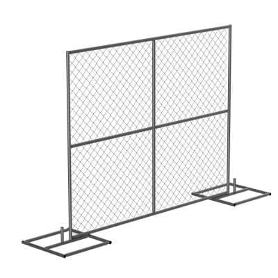 HRAIL 72 in. Galvanized Silver Construction Barrier - Starter Unit Chainlink Without Slats