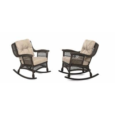 Cappuccino Collection Wicker Outdoor Rocking Chair Set with Beige/Tan Cushions (2-Pack)