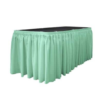 17 ft. x 29 in. Long Mint Polyester Poplin Table Skirt with 10 L-Clips