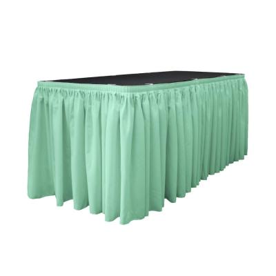 30 ft.x 29 in. L with 15-Large Clips Mint Polyester Poplin Table Skirt