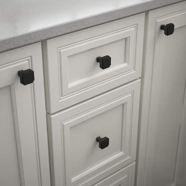 Matte Black Square Cabinet Knob P38476c, Home Depot Kitchen Cabinet Hardware