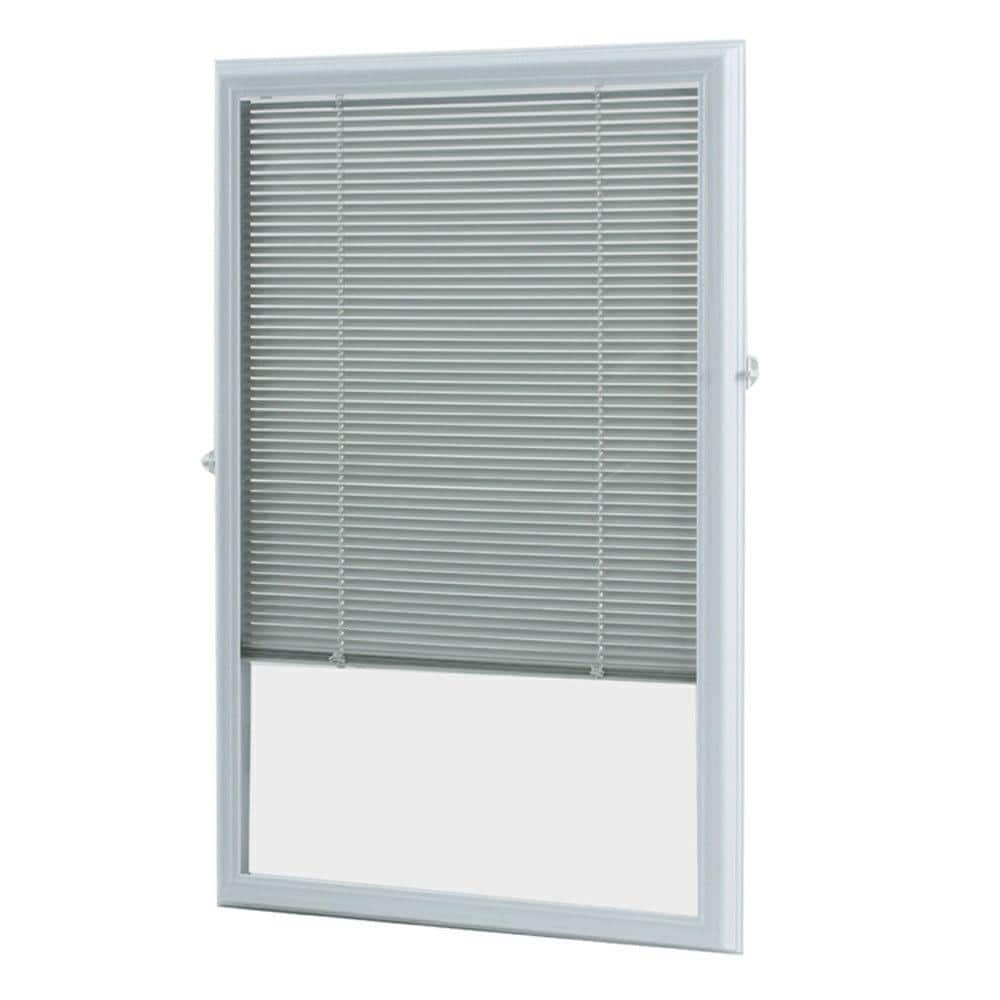 ODL White Cordless Add On Enclosed Blind with 1/2 in. Wide Aluminum Blinds for 20 in. Width x 36 in. Length Door Window