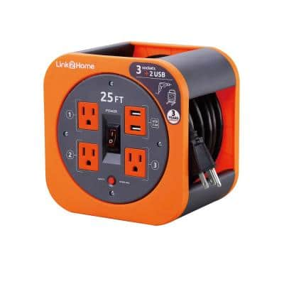 25 ft. 16/3 Extension Cord Storage Reel with 3 Grounded Outlets 2 USB 3.4 Amp and Overload Reset Button