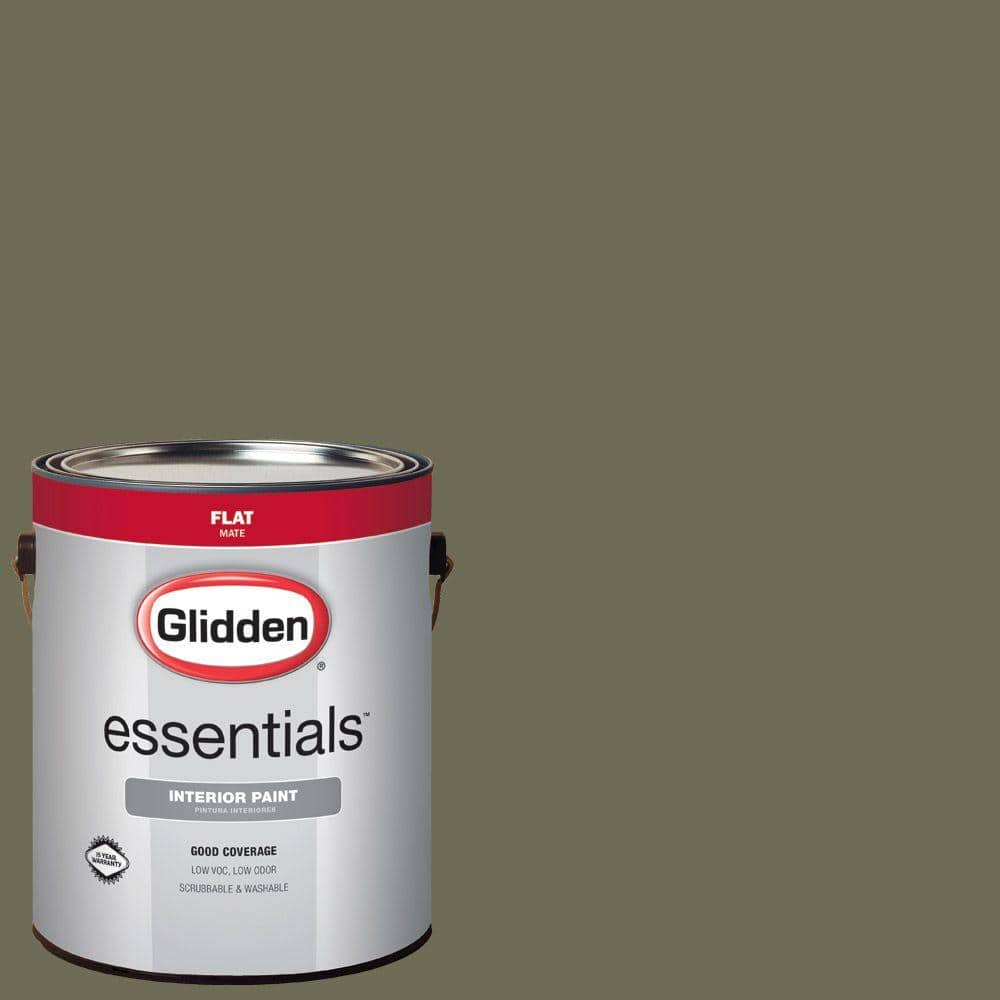 Glidden Essentials 1 Gal Hdgg26 Olive Green Flat Interior Paint Hdgg26e 01fn The Home Depot