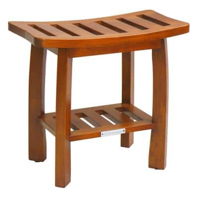 19.01 in. D x 11.02 in. W Solid Wood Spa Shower Bench with Storage Shelf in Teak
