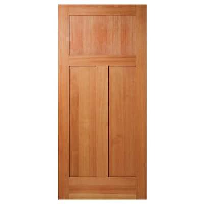 36 in. x 80 in. 3-Panel Craftsman Solid Core Unfinished Fir Wood Interior Door Slab