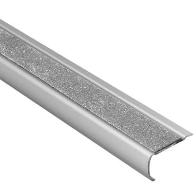 Trep-GK-S Brushed Stainless Steel/Transparent 1/16 in. x 4 ft. 11 in. Metal Stair Nose Tile Edging Trim