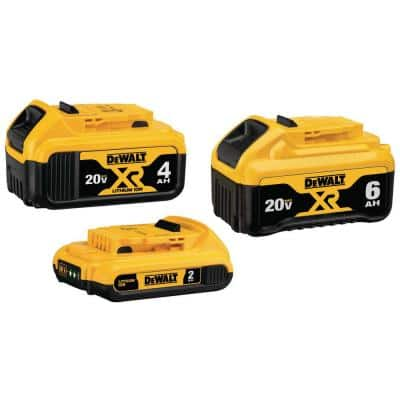 20-Volt MAX XR Premium Lithium-Ion 6.0 Ah Battery, 20-Volt MAX XR 4.0 Ah Battery and 20-Volt MAX 2.0 Ah Battery