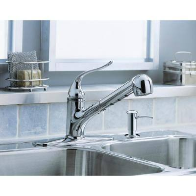 Coralais Single-Handle Pull-Out Sprayer Kitchen Faucet With MasterClean Sprayface In Polished Chrome