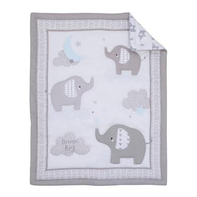 Elephant Stroll Dream Big Clouds & Stars 3-Piece Nursery Mini Crib Bedding Set (Comforter & Two Fitted Mini Crib Sheets)