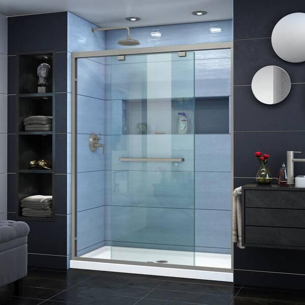 Semi Frameless Bypass Shower Door, Shower Stall Glass Doors Home Depot