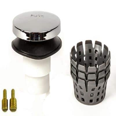 Fits 3/8 in.and 5/16 in. TubSTRAIN Universal Toe Touch (Tip Toe or Foot Actu.) Hair Catcher Bathtub Drain Stopper in CH