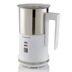 8.1 oz. White Stainless Steel Electric Milk Frother 3 in 1-Warming, Heating and Frothing, See-Through Lid Plus Whisks