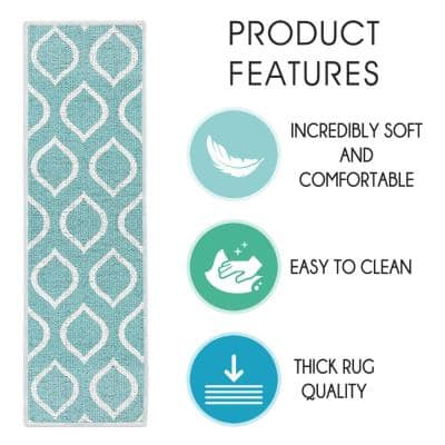 Drop Teal 9 in. x 28 in. Cotton Carpet Stair Tread Cover (Set of 7)