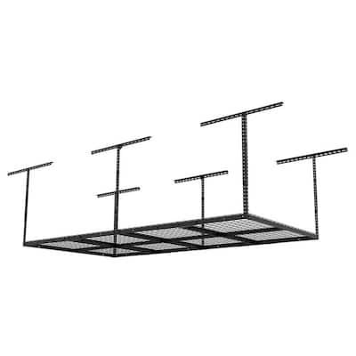 Black Adjustable Height Steel Overhead Garage Storage Rack (48 in W x 96 in D)
