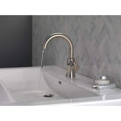 Trinsic Single Hole Single-Handle Bathroom Faucet with Metal Drain Assembly in Stainless