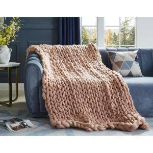 Berenice 50 in. x 70 in. Blush Throw Blanket Cozy 100% Polyester
