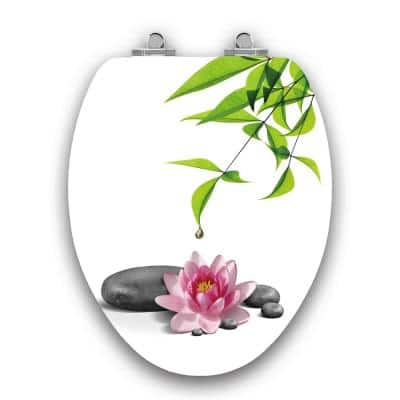 Art of Acryl Water Lily Slow Close Elongated Closed Front Toilet Seat in White