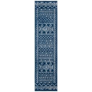 Tulum Navy/Ivory 2 ft. x 19 ft. Runner Rug
