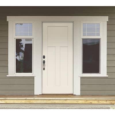 32 in. x 80 in. 3-Panel Craftsman Primed Steel Prehung Right-Hand Inswing Front Door