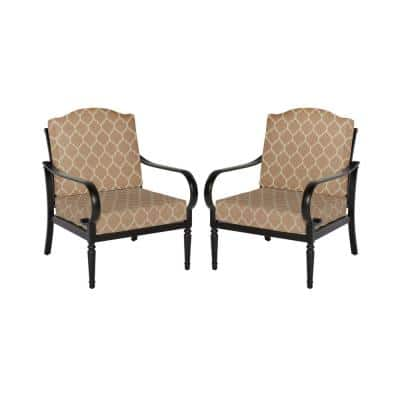 Laurel Oaks Brown Steel Outdoor Patio Stationary Dining Chair with CushionGuard Toffee Trellis Tan Cushions (2-Pack)